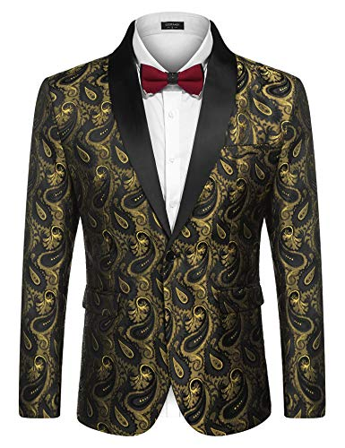 COOFANDY Men's Floral Party Dress Suit Stylish Dinner Jacket Wedding Blazer Prom Tuxedo Golden -