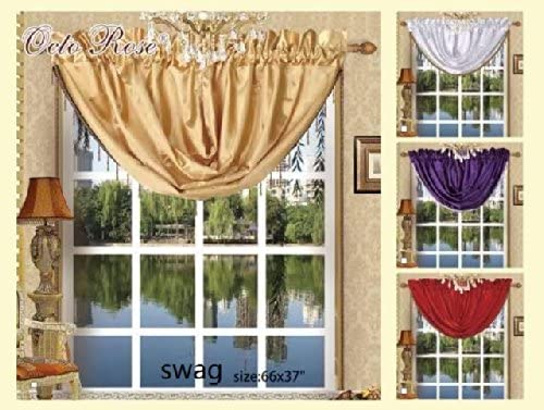 Octorose Royalty Custom Waterfall Window Valance Swags Tails White, Swag 66x37inch