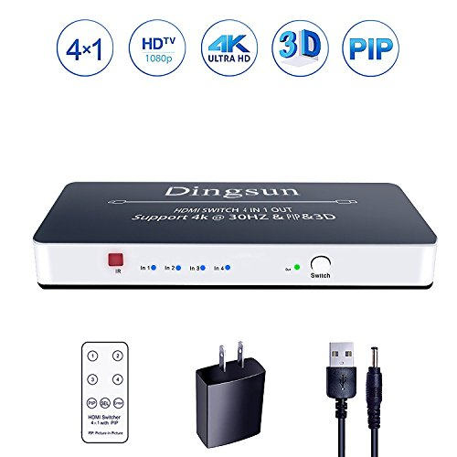 HDMI Switch, 4 Port HDMI Switch with Remote, HDMI Switch Box Support 4K, 1080P, 3D