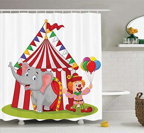 Ambesonne Elephant Enjoyment Illustration Multicolor