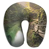 Beautiful Green River Wood Road Print U Type Pillow Memory Foam Neck Pillow for Travel and Relief Neck Pain Comfortable Super Soft Cervical Pillows with Resilient Material Relex Pollow