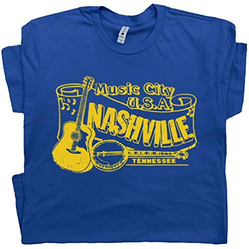 L - Nashville T Shirt Banjo Shirt Vintage Country Music Club Bluegrass Mandolin 80s Gilleys Rock Tee