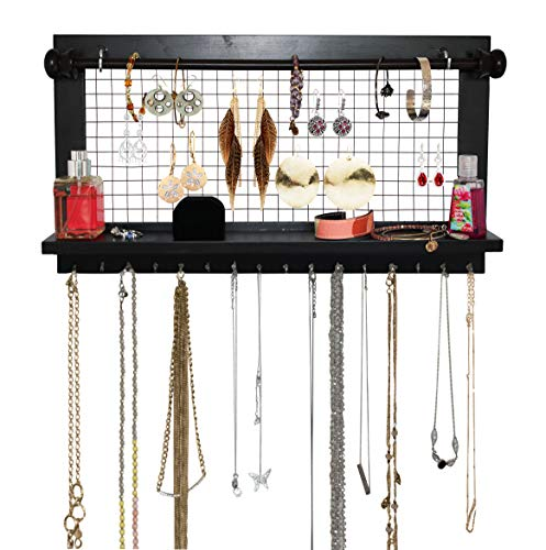 - SoCal Buttercup Espresso Jewelry Organizer with Removable Bracelet Rod from Wooden Wall Mounted Holder for Earrings Necklaces Bracelets and Other Accessories