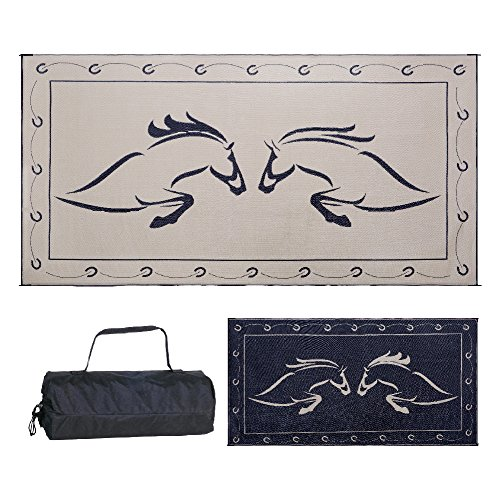 Reversible Mats Outdoor Patio / RV Camping Mat - Hunter Mat (Black/Beige Horse Design, 9 Feet x 18 Feet) ()