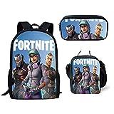 School bags Knowooh Fortnite games pattern school backpack for girls orthopedic Schoolbag backpacks for kids (Black and Gray)