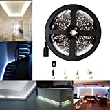 Pure White Led Strip Light Kit for Living Room Decoration Adhesive Light Strips 3528 Flexible LED Strip Light Kits 300LEDs 5M/16.4Ft DC12V NonWaterproof with Power Adapter