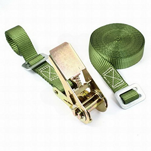 Travel Luggage Adjustable Metal Ratchet Tie Down Strap 5M 16ft Green By FemiaD by FemiaD