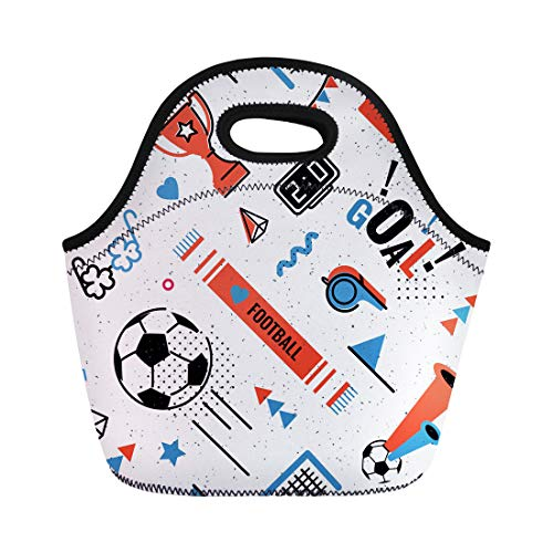 Semtomn Neoprene Lunch Tote Bag Soccer Football Abstract in 80S Memphis Pattern for Posers Reusable Cooler Bags Insulated Thermal Picnic Handbag for Travel,School,Outdoors, Work