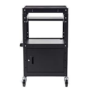 Commercial Grade Metal Rolling AV Cart - Presentation Cart with Storage Box - for TV's, Printers, Classroom Teacher Supplies, Laptop Storage and Presentations