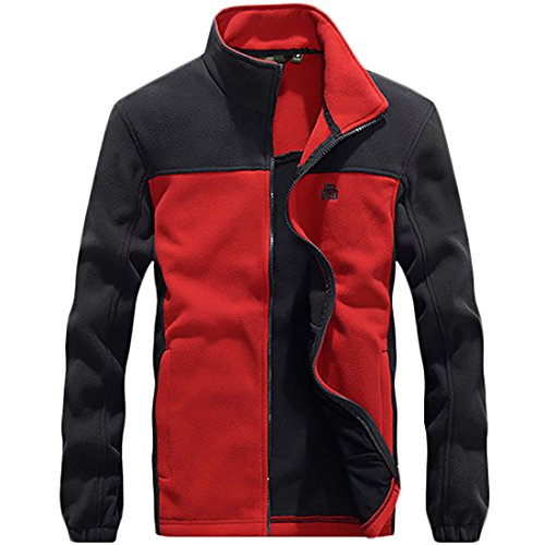 front Color Fleece Outdoor Block Coat Slim Jacket Red Fit Zip Collar Mens Stand MU2M CqBtFx