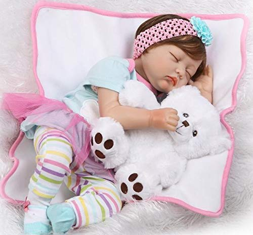 Pinky 55cm 22 Inch Sleeping Soft Vinyl Silicone Doll True Looking Realistic Reborn Doll Baby Girl Eyes Closed Magnetic Mouth Dummy Xmas Gift]()