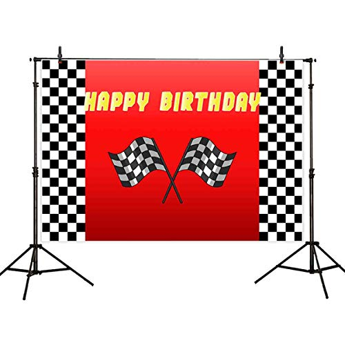 - Allenjoy 7x5ft Car Racing Themed Birthday Backdrops for Photography Racing Flag Black White Grid Red Photo Backgrounds Birthday Party Banner Photo Booth Props