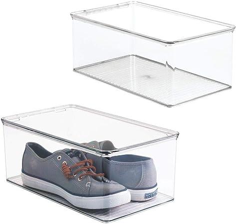 mDesign Juego de 2 cajas para zapatos apilables con tapadera – Práctica caja de zapatos de plástico – Organizador de zapatos ideal para sandalias, zapatillas de deporte, etc. – transparente: Amazon.es: Hogar