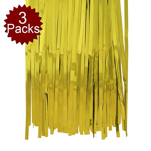 Aspire Long Foil Fringe Photo Backdrops Doorway Window Tinsel Party Curtain 3 ft x 8 ft-Gold-Pack of 3
