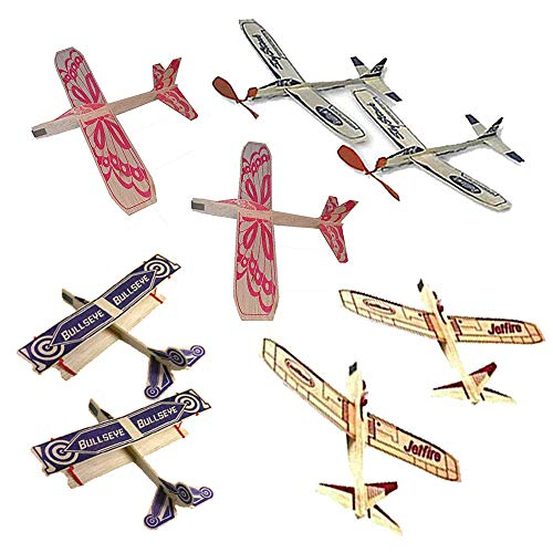 Jetfire Glider Balsa Wood Airplanes by Guillows Bullseye Biplane - Sky Streak Airplane Wind Up Rubber Band Powered Toys Bundle for Kids with Sunny Glider - Airplanes Powered Rubber Band