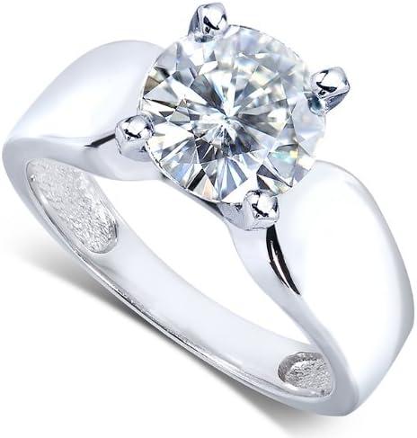 Kobelli Round Moissanite Solitaire Engagement Ring 2 CTW 14k White Gold