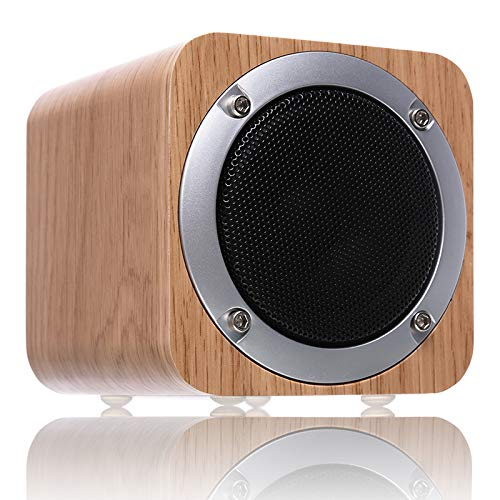 Bluetooth Speakers Wooden, ZENBRE F3 6W Portable Bluetooth 4.1 Speakers with 70mm Big-Driver, Wireless Computer Speaker with Enhanced Bass Resonator (Wood Grain), White