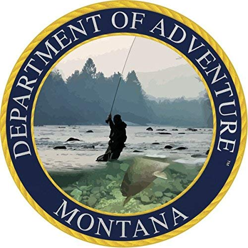 "Montana Sticker - The MT Department of Adventure State Seal. Designed to Look Like a Patch, This Vinyl Sticker is 3.5"" Perfect for Water Bottle, Laptop, Cooler and Bumper. All-Weather"