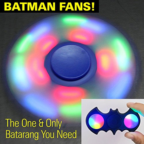 [2 Pieces] LED Light Up TRI Fidget Spinner & BATMAN w/ Switch for Colorful Lights (Batteries Replaceable) - Sensory Finger Fiddle Toy, Perfect For Boredom ADHD Anxiety Stress Relief -For Adults & Kids at Gotham City Store