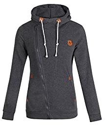 LANOU ELFIN Women\'s Funnel Neck Oblique Zipper Hoodie Sweatshirt Coat