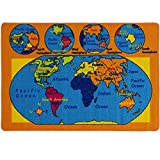 world carpet - Mybecca Kids Rug World Map 3' X 5' Children Area Rug for Playroom & Nursery - Non Skid Gel Backing (39
