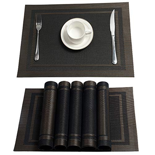 HEBE Placemats, Table Mats,Placemat Set of 6 Non-Slip Washable Place Mats,Heat Resistant Kitchen Tablemats for Dining Table
