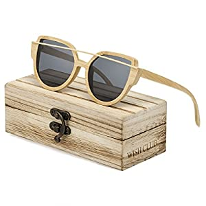 WISH CLUB Women Bamboo Wood Polarized Sunglasses Classic Cat Eye Floating Lightweight UV400 Glasses(Grey)