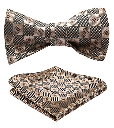 HISDERN Men's Check Plaid Bowtie Formal Tuxedo Self-Tie Bow Tie and Pocket Square Set ,K814 Gold / Brown,One Size