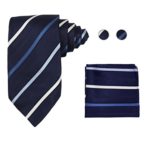 Blue Stripes Woven Silk Tie Hanky Cufflinks Gift Box Set Navy New Year's Day gift H5175 One Size ()