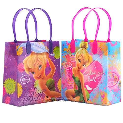 Disney Tinkerbell Reusable Premium Party Favor Goodie Small Gift Bags 12 (12 Bags) (Gift Tinkerbell)