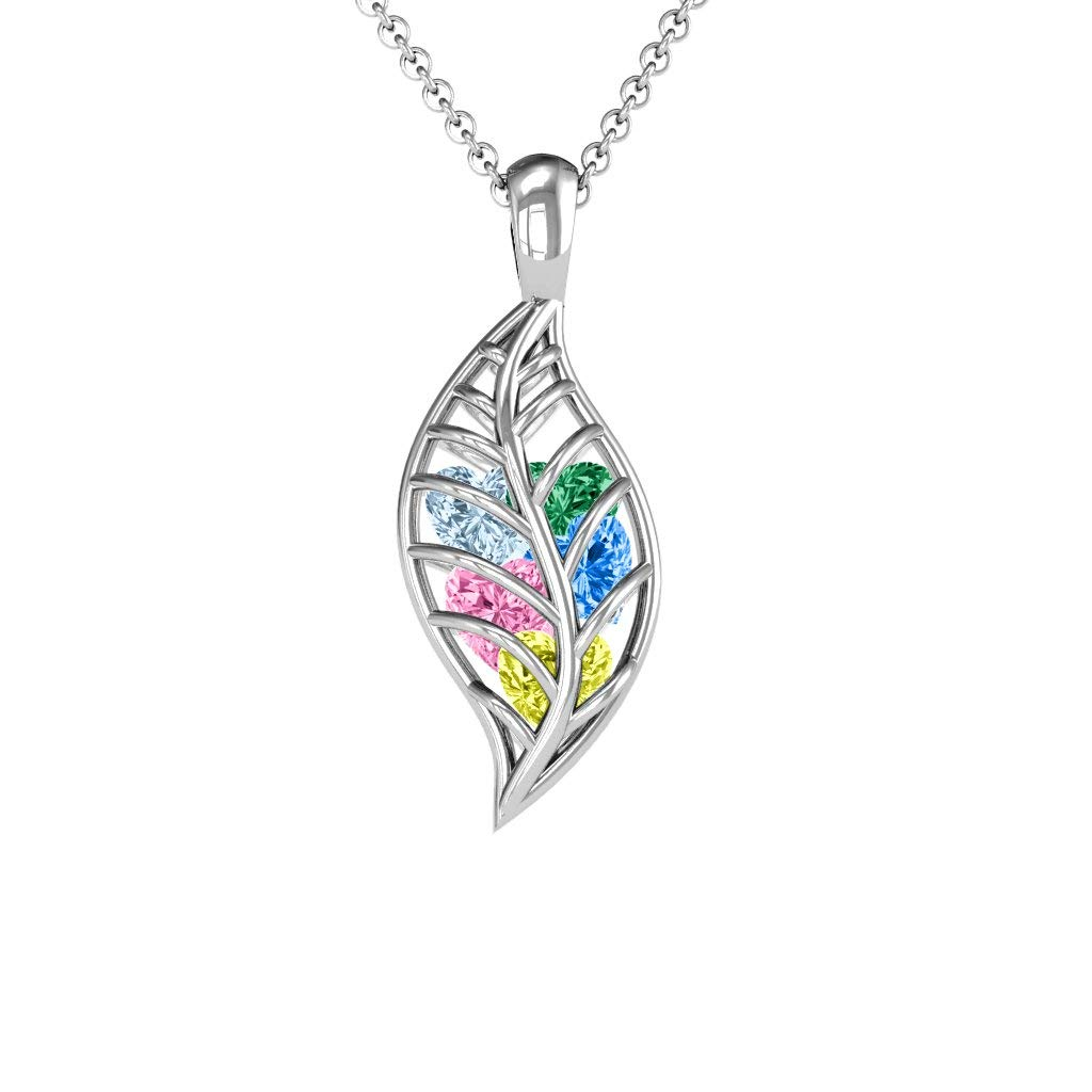 10K Gold Mini Encourage-Mint Cage Leaf Pendant with Personalized Birthstones by JEWLR