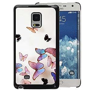 A-type Arte & diseño plástico duro Fundas Cover Cubre Hard Case Cover para Samsung Galaxy Mega 5.8 (Butterfly Peach Iridescent Pink Nature)