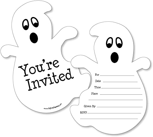 Birthday Party Invites inc envelopes HP4 Personalised Ghosts Halloween