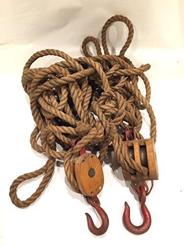 Anvil Block And Tackle Vintage Iron Pulley Hemp Rope Marine Barn Decor Red (Anvil Block)