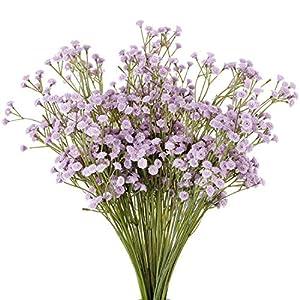 Nubry 10pcs Baby Breath Artificial Fake Babys Breath Flowers Gypsophila in Bulk for Wedding Crown Home Party Garden Décor(Light Purple) 23