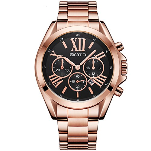 Price comparison product image Luxury Women Watches Roman Numeral Rose Gold Black Unique Casual Waterproof Business Clock