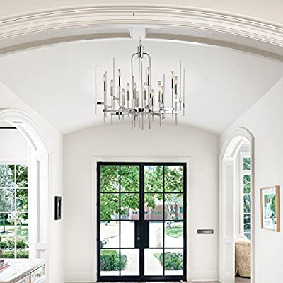Bari 12-Light Chandelier - Aged Brass Finish with Clear Glass Shade