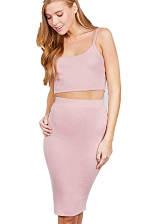 d306b79504 Crop Tank Top and Pencil Skirt Rayon Spandex Set at Amazon Women's Clothing  store:
