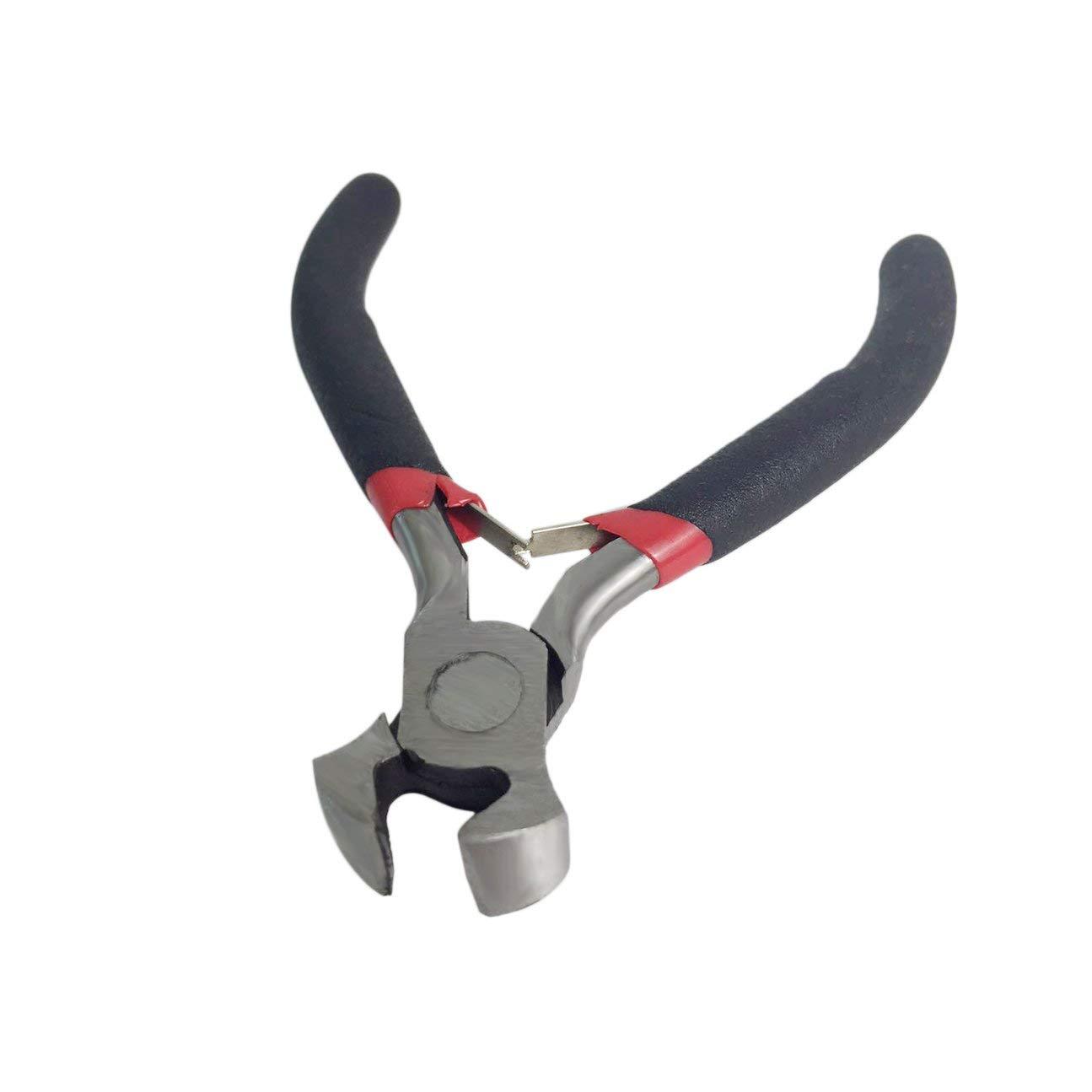 5pcs mini bricolage fabrication de bijoux pinces ensemble en acier au carbone et PVC perles per/çage du fil rond long courb/é mini pince outil de coupe kit noir