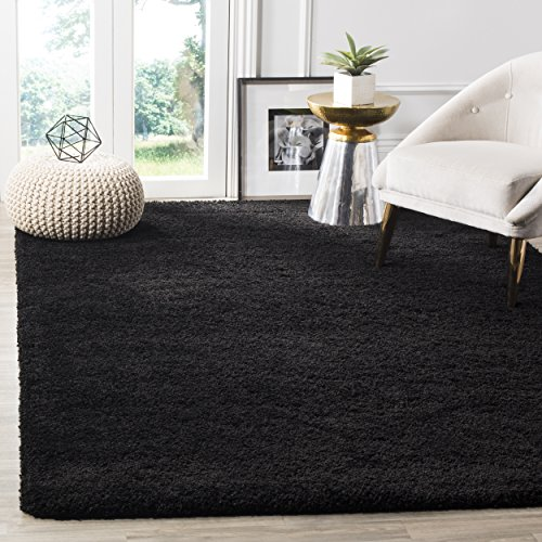 Safavieh Milan Shag Collection SG180-9090 Black Area Rug (8' x 10')