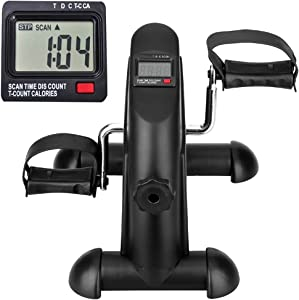 himaly Mini Exercise Bike, Under Desk Bike Pedal Exerciser Portable Foot Cycle Arm & Leg Peddler Machine with LCD Screen Displays