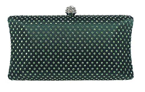 Emerald Green Bag - Chicastic Emerald Green Rhinestone Crystal Hard Box Wedding Cocktail Evening Clutch Bag