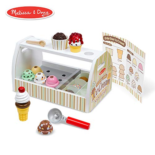 (Melissa & Doug Wooden Scoop & Serve Ice Cream Counter (Play Food and Accessories, 28 Pieces, Realistic Scooper, 13.6