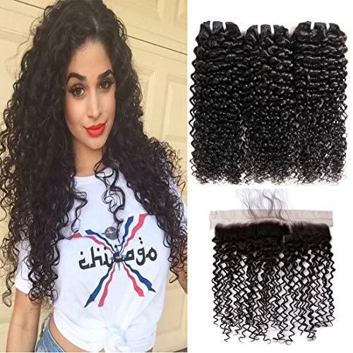 Kinkys Curly 3 Bundles 16 18 20 with 14 inch Lace Frontal Closure 130% Hair Density Brazilian Curl 100% Unprocessed Cuticle Aligned Human Hair Weave Bundles Natural Black Color for Women (Best Wet N Wavy Braiding Human Hair)