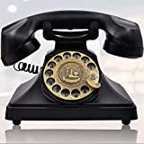 old fashion phones IRISVO Rotary Dial Telephone Retro Old Fashioned Landline Phones with Classic Metal Bell,Corded Phone with Speaker and Redial Function for Home and Decor(Classic Black)