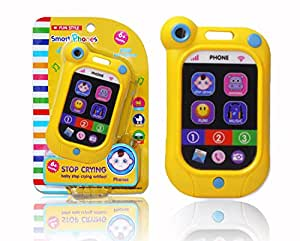 BBLIKE Baby Phone Toy Touch Swipe Screen Learning with 7 Pretend Apps and 3 Function Modes-Shock Resistant Baby Cell Phone Study Educational Telephone Toys for kids (Yellow)