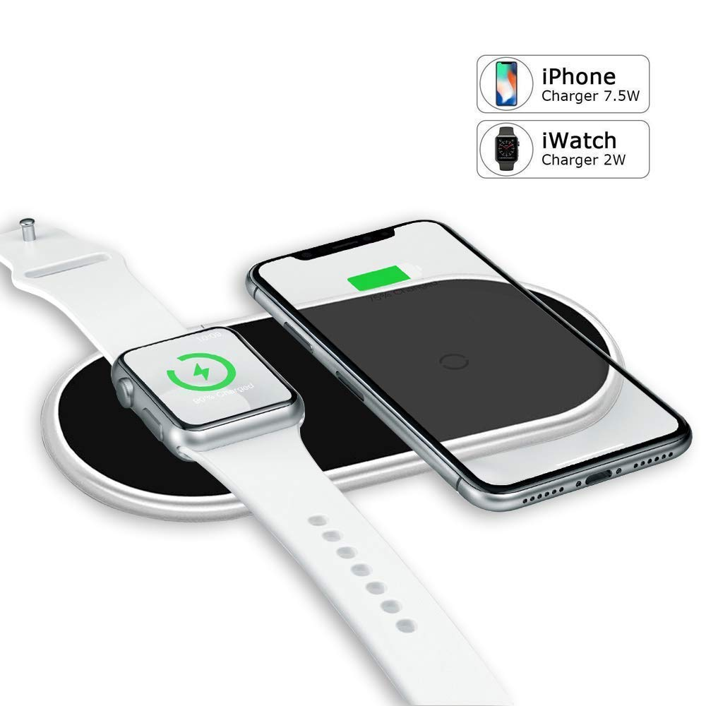 VRURC Wireless Charger for Apple Watch, 2-in-1 Charging Pad Compatible with iWatch Series 4/3/2/1, for iPhone Xs Max/XS/XR/X/8/8 Plus