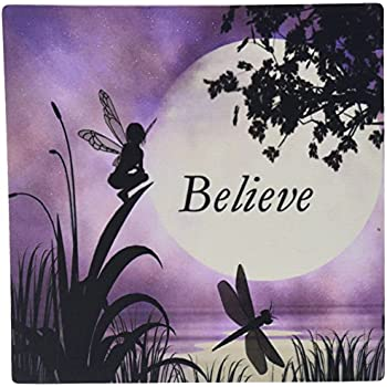 "3dRose LLC 8 x 8 x 0.25 Inches Mouse Pad, ""Believe"" Fairy with Dragonflies with Moon and Purple Sky (mp_35696_1)"