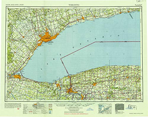 YellowMaps Toronto NY topo map, 1:250000 Scale, 1 X 2 Degree, Historical, 1952, Updated 1954, 22.5 x 28.3 in - -