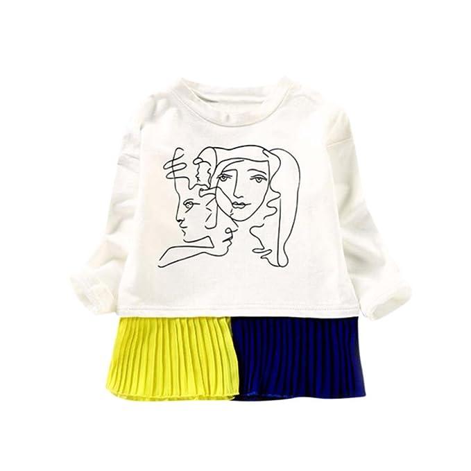 Yannerr Bebé niña Dibujos Empalme de la gasa fiesta princesa vestido camiseta tops sudadera manga trompeta